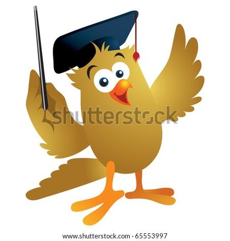 Fun cartoon owl wearing a graduation hat giving an educational presentation. - stock vector