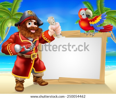 Fun cartoon pirate beach sign illustration of a fun cartoon pirate on a beach holding a treasure map with his parrot on the sign and palm trees in the background - stock vector