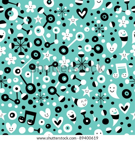 fun cartoon turquoise blue pattern