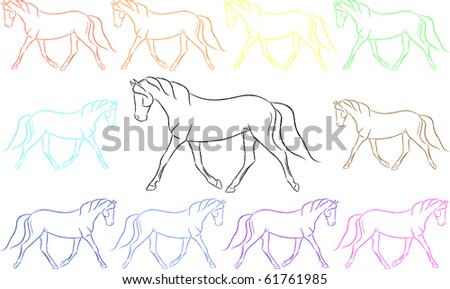 Fun Colored Trotting Horses Vector - stock vector