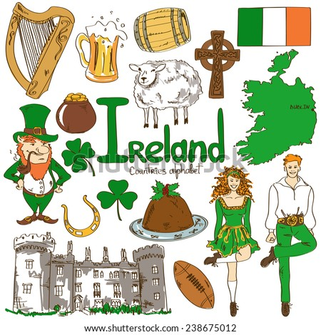 Fun colorful sketch collection of Irish icons, countries alphabet  - stock vector