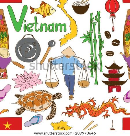 Fun colorful sketch Vietnam seamless pattern - stock vector