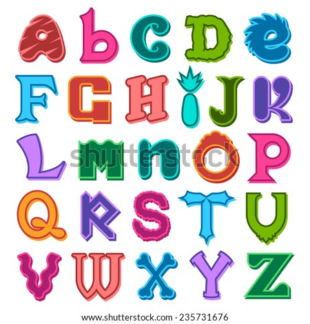 Fun complete colorful set of different shaped alphabet letters in the colors of the rainbow in upper and lower case for kids, scrapbooking and decorative text - stock vector