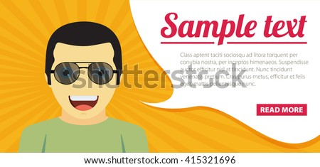 Fun concept. Vector flat design illustration. Horizontal layout with a text space in a right. - stock vector