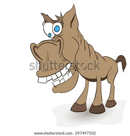 fun crazy horse with protruding teeth and hoof - stock vector