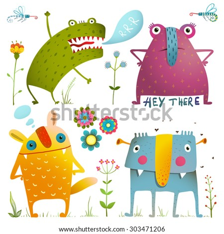 Fun Cute Little Monsters for Kids Design Colorful Collection. Amazing fictional characters design elements isolated on white. EPS10 vector has no background color. - stock vector