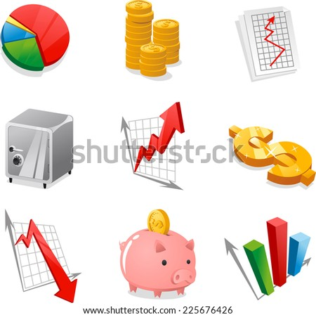 Fun Economy vector icon collection. - stock vector