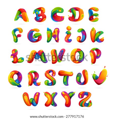 Fun english alphabet letters set. Font style, vector design template elements. - stock vector