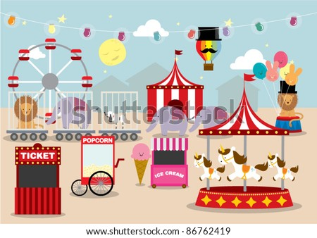 Fun Fair Drawing Fun Fair Vector Illustration