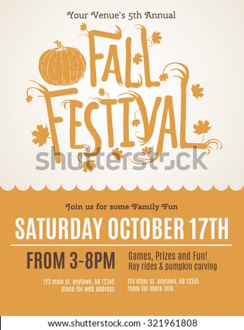 Fun Fall Festival Invitation Flyer Stock Vector   Shutterstock