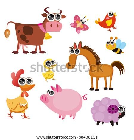 Fun Farm animals - stock vector