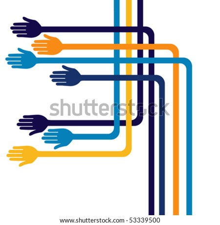 Fun geometric hands design. - stock vector