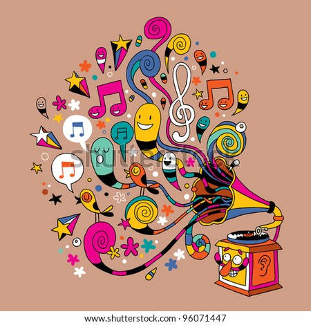 fun gramophone - stock vector