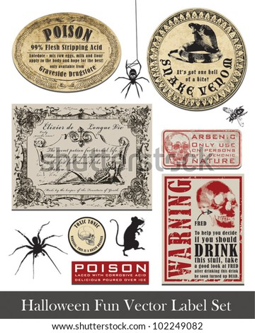 Fun Halloween Vintage Style Labels and Icons.  Use to set the scene for your spooky Halloween! - stock vector