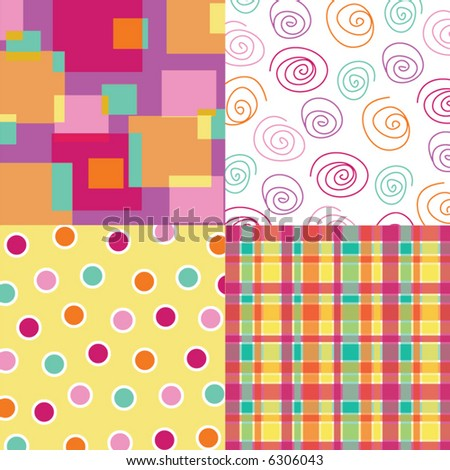 fun hot pink squares, dots, plaid and scribble quads (vector) - stock vector