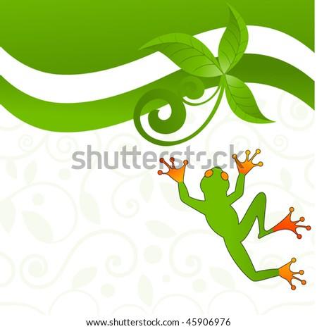 fun jumping frog - decorative pattern behind - stock vector