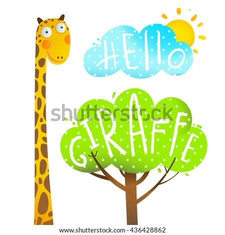 Fun kids cartoon african giraffe animal with tree, cloud and sun, hello giraffe, cartoon vector illustration. - stock vector