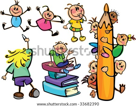 Fun kids  for school design - stock vector