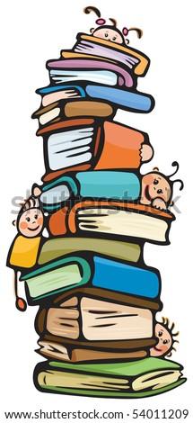 Fun kids on books - stock vector