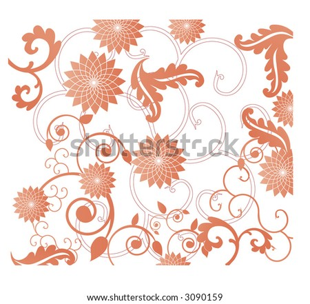 fun leaves and flowers vector - stock vector
