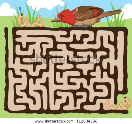Fun maze for kids! Help the earthworm escape from the hungry bird - stock vector