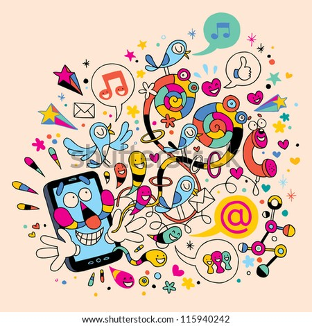 Fun mobile phone - stock vector