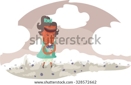 Fun monster staying in meadow with flowers. Vector illustration, colored, cute.