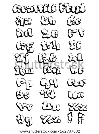 Fun outlined graffiti font, hand-drawn, not traced, expert construction, easy to modify design and add colors. Vector EPS-10 file, no transparency or effects. - stock vector