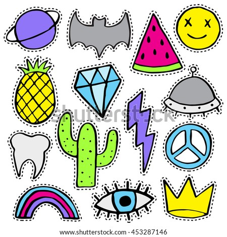 Fun patch set. Print pin, badge, sticker, collection. Vector illustration