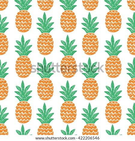 fun pineapple seamless pattern vector illustration - stock vector
