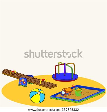 Fun playground. Cartoon vector Illustration of playground equipment - stock vector