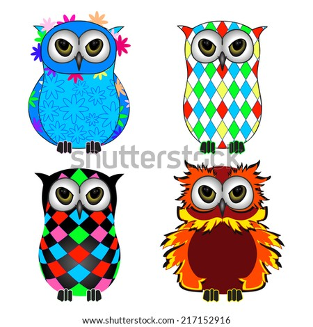 Fun psychedelic owls placed on white background - stock vector