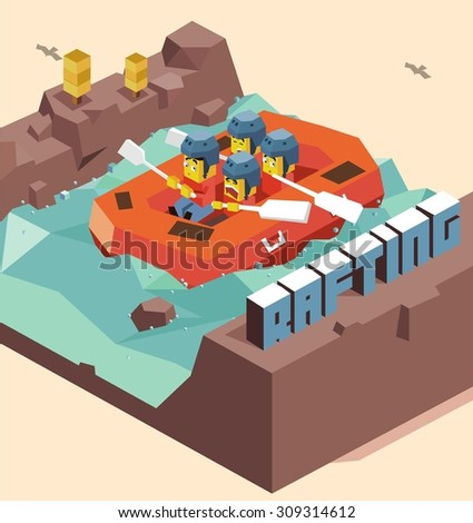 Fun Rafting activity. isometric art - stock vector