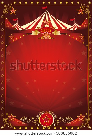 Fun red circus poster. A circus background with a large copy space and a big top for your message. - stock vector