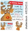 Fun Reindeer Christmas card and swing tag set - stock vector