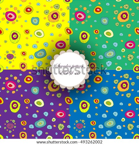 Fun seamless background pattern set.