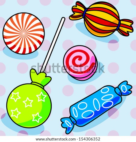 Fun seamless candy pattern with polka dots - stock vector