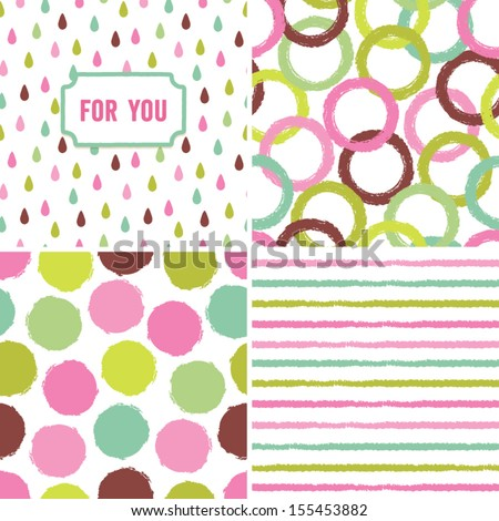 Fun seamless hipster background pattern set in retro colors. Great for Baby Shower, Birthday, Easter, Wedding, Greeting Cards, Mothers Day, scrapbook, gift wrapping paper, surface textures. - stock vector