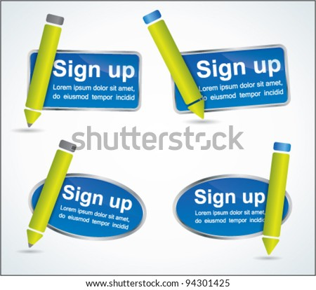 Fun sign up blue web2 icon set with green pencils - stock vector