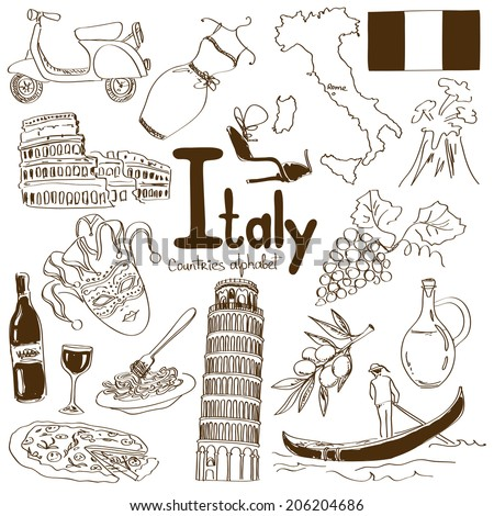 Fun sketch collection of Italy icons, countries alphabet