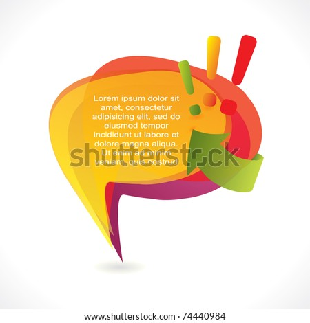 Fun speech bubble with exclamation marks and arrow - stock vector
