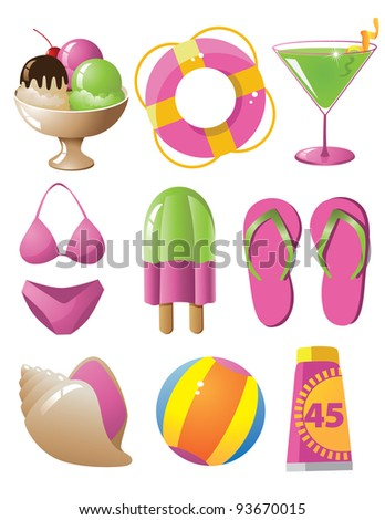 Fun Summer Icon Symbol Set EPS 8 vector, grouped for easy editing. No open shapes or paths.
