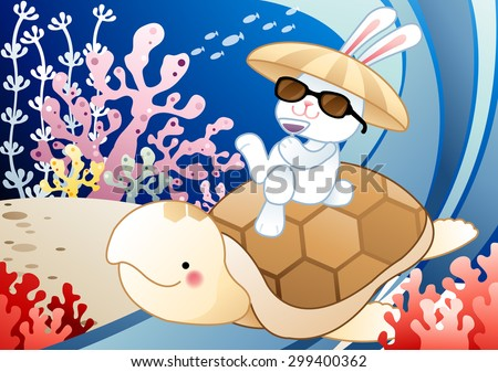 Fun Summer Story - young rabbit ride on cute little turtle's back and drink icy grape juice in tropical undersea on relaxing vacation on background of blue sea with shoal of fish : illustration - stock vector