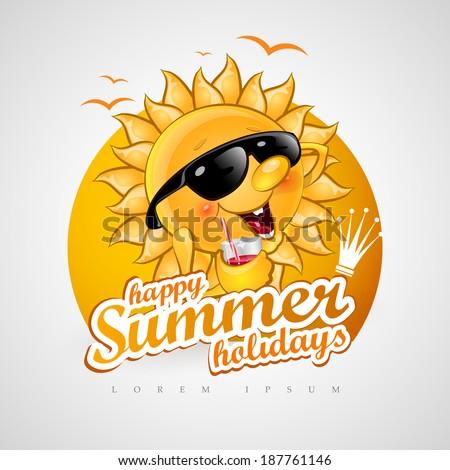Fun summer sun with a cocktail. - stock vector
