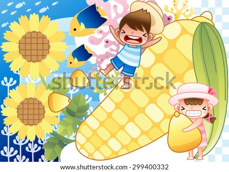 Fun Summer Vacation - lovely young girl and cute little boy play and hug a big corn at tropical island on bright blue background of under sea with chess and stripe patterns : vector illustration - stock vector