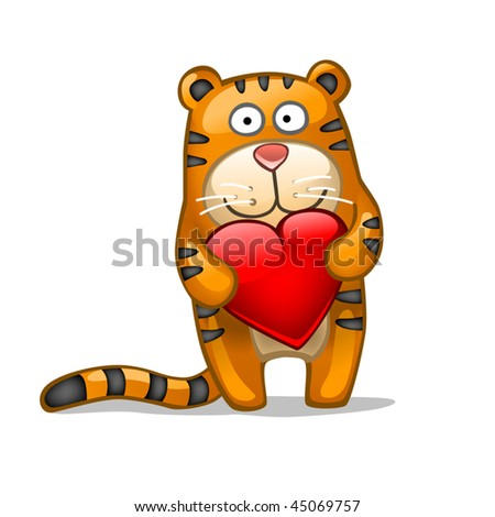 Fun tiger with heart - stock vector