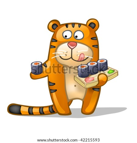 fun tiger with rolls - stock vector