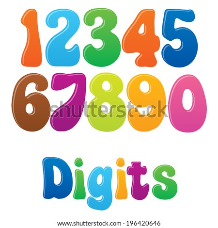 Fun vector font for kids - 1 Playful Digits - stock vector