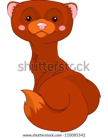 Fun zoo. Illustration of cute Mink - stock vector
