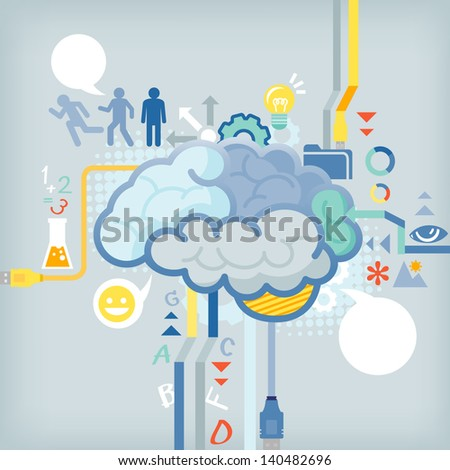 Function of human brain - stock vector